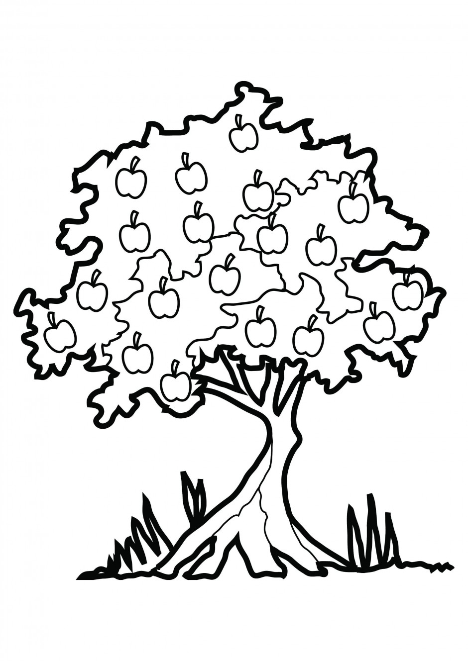 940x1329 apple tree clipart black and white - Christmas Tree Clipart Black And White