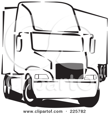 450x470 Semi Truck Black And White Clipart