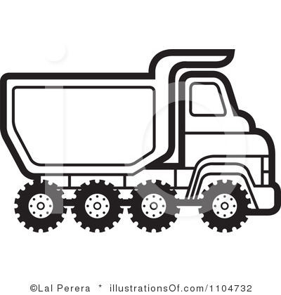 400x420 Black Amp White Clipart Dump Truck