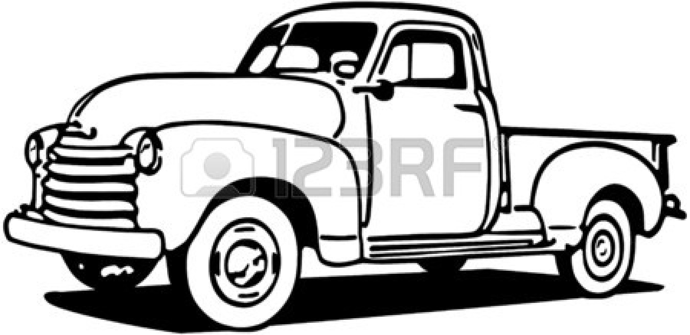1350x657 Truck clipart line drawing