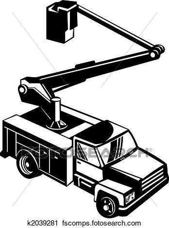 348x470 Clipart of Black bucket truck k2039281