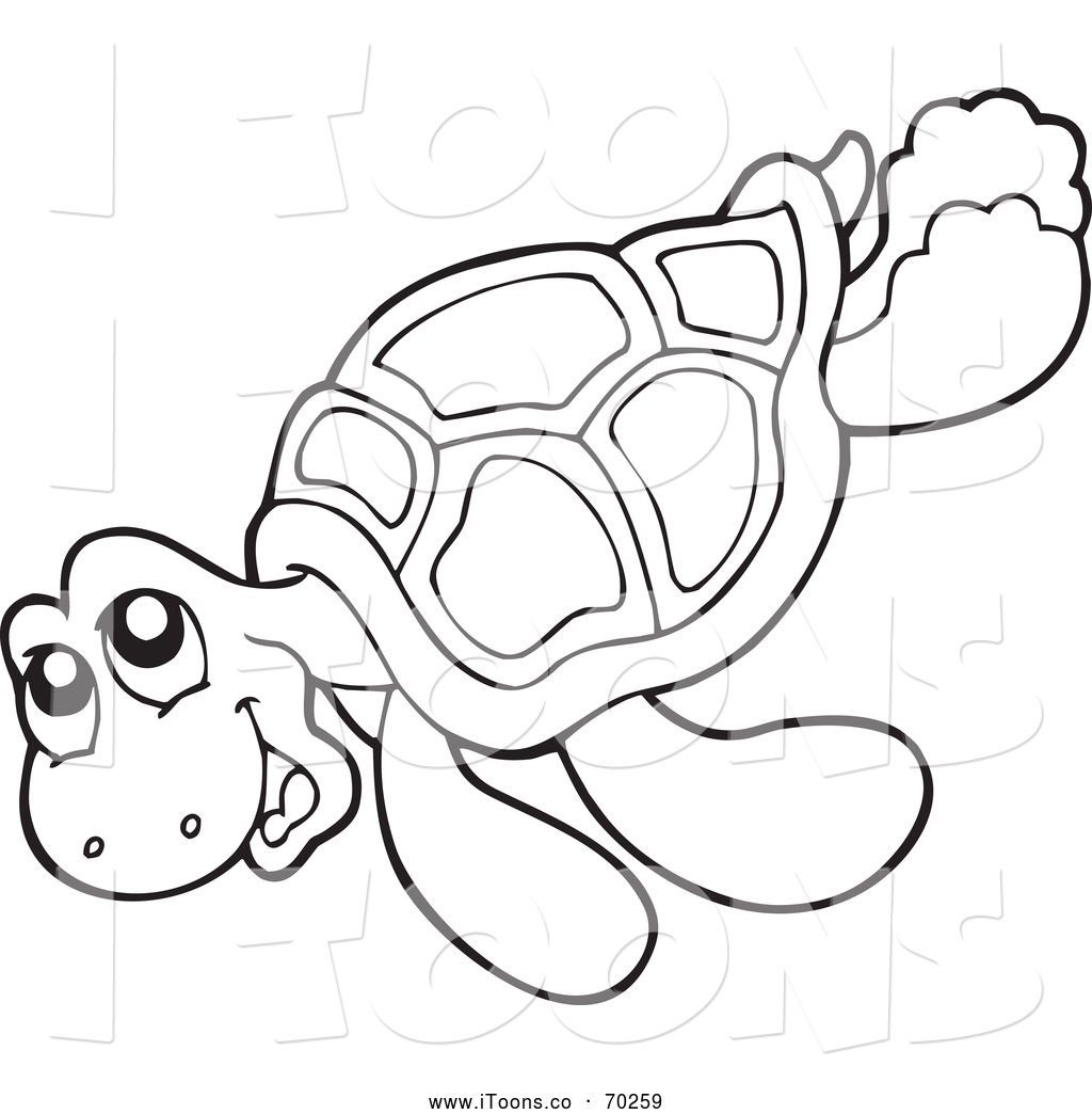 1024x1044 Vector Clip Art Of A Black And White Happy Sea Turtle By Visekart