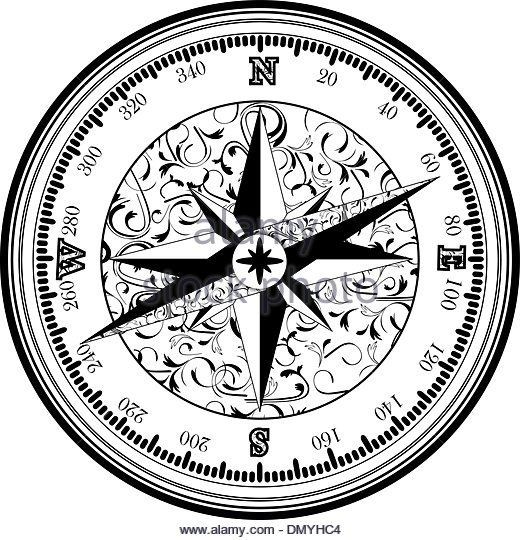 Black And White Compass