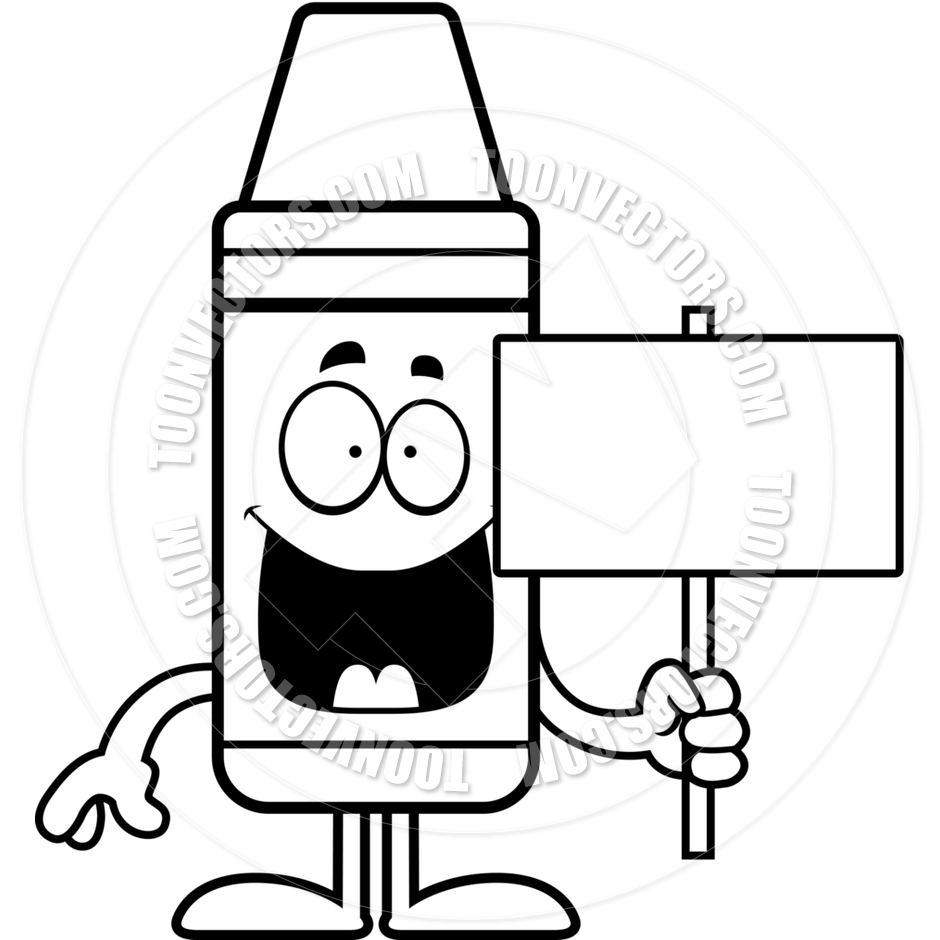 940x940 Cartoon Crayon Sign (Black And White Line Art) By Cory Thoman