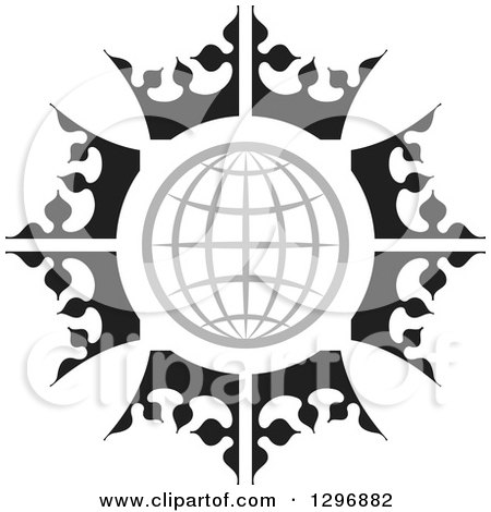 450x470 Clipart Of A Black And White Label With Luxury Crowns