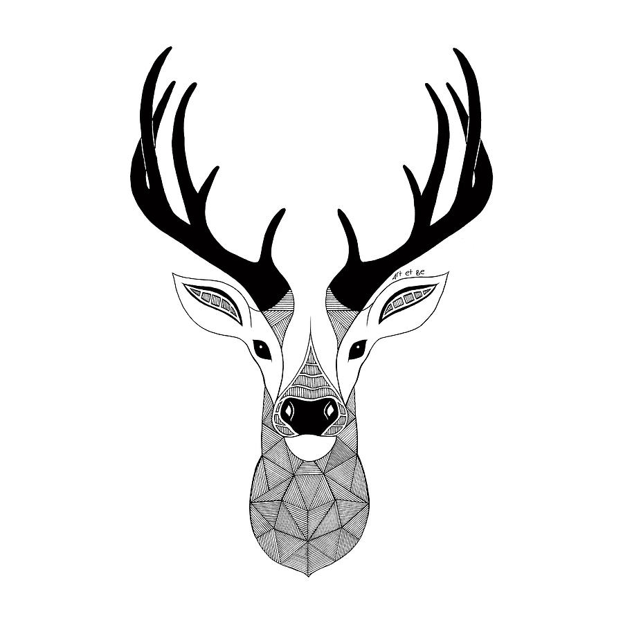 Black And White Deer Head