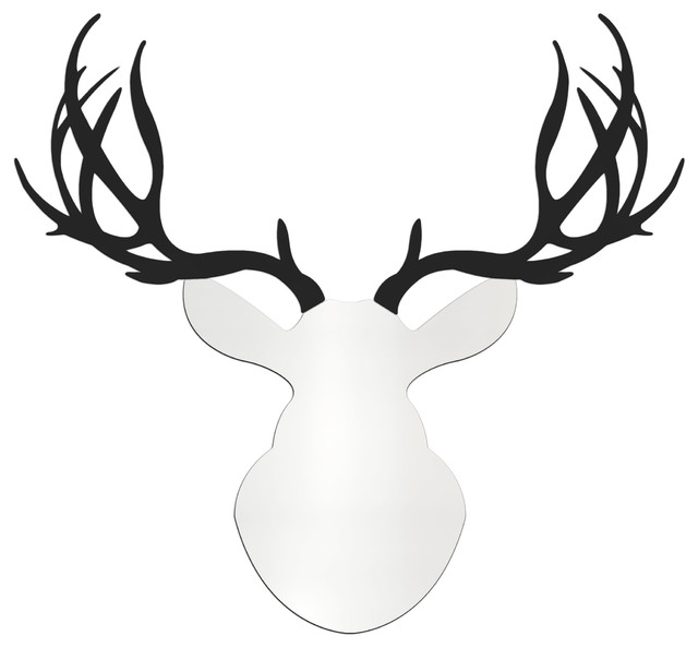 640x594 Contemporary Buck, Large White And Black Modern Deer Head Cut Out