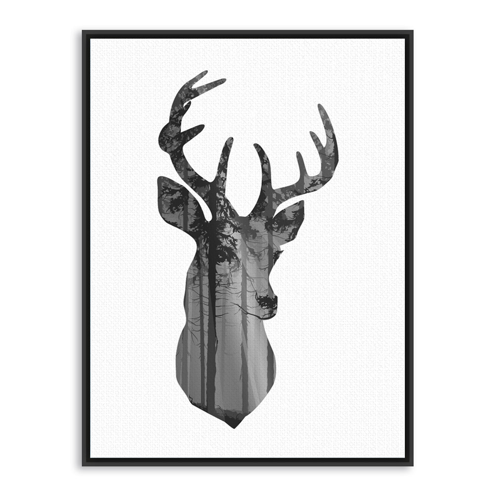 1000x1000 Nordic Vintage Black White Deer Head Animals Silhouette A4 Big Art