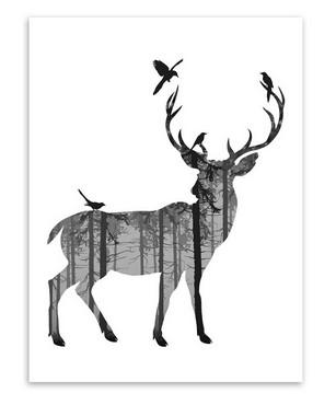 307x370 Nordic Vintage Black White Deer Head Animals Silhouette Big Art