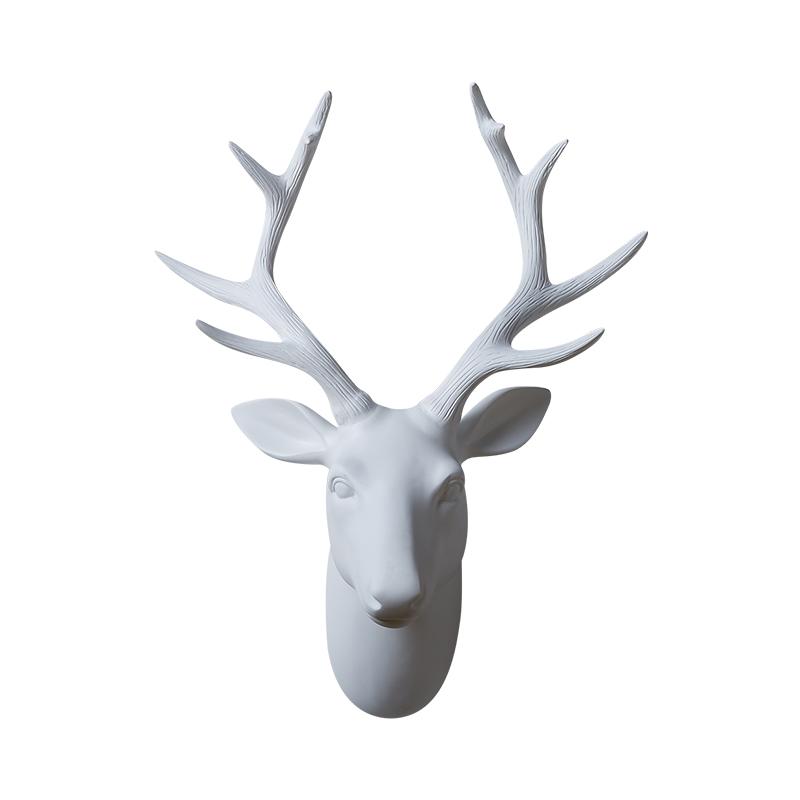 800x800 Nordic Black White Resin Deer Head Figurines Vintage Statue Home