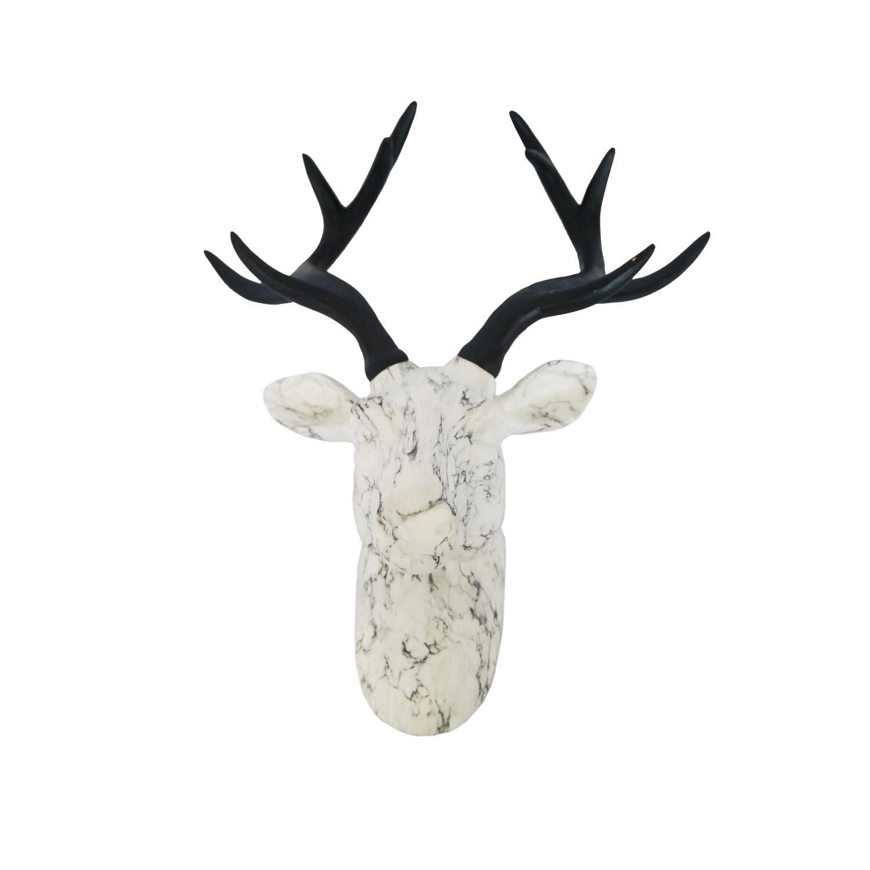 1500x1500 Resin Deer Head Wall White Marble Looklack Horns13.787.28