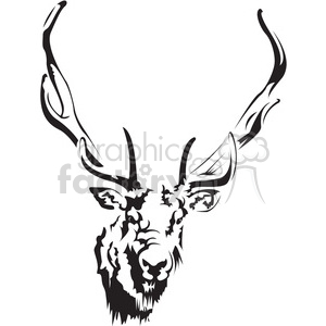 300x300 Royalty Free Black And White Deer Head 394992 Vector Clip Art