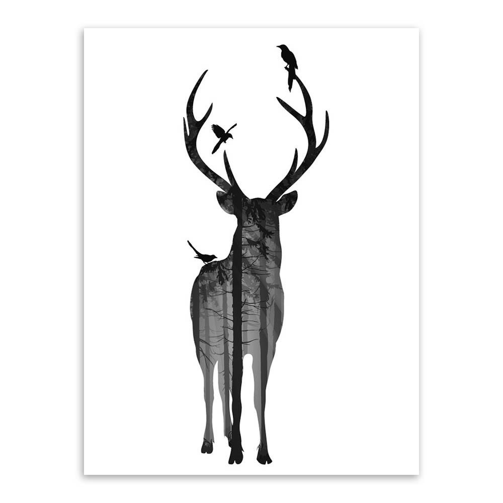 Black And White Deer Head | Free download on ClipArtMag