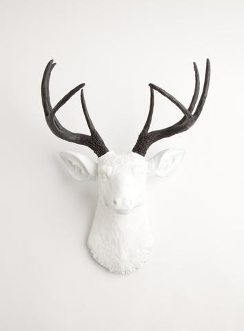 354x479 White Faux Deer Head W Black Antlers, The Maud Faux Taxidermy