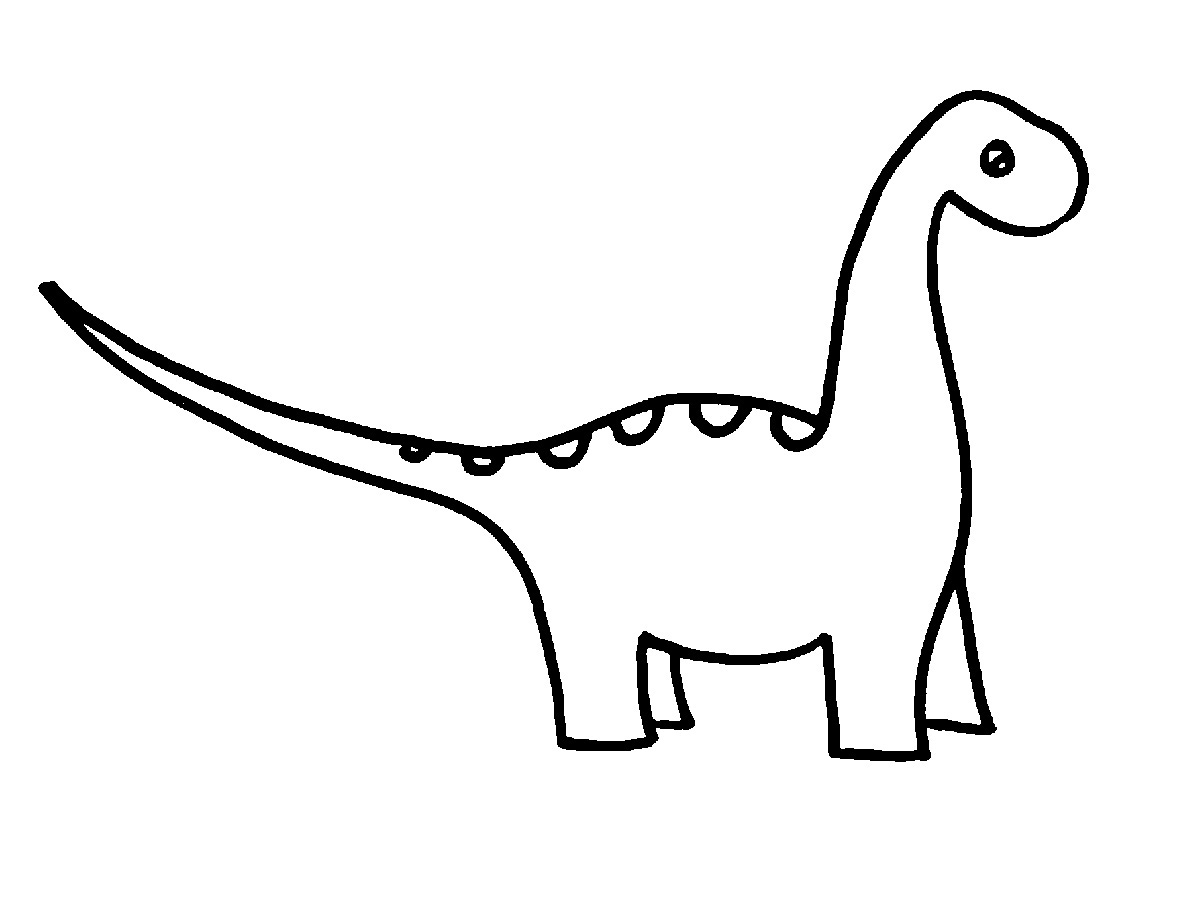 1200x900 Free Cute Dinosaur Clipart Black And White Image