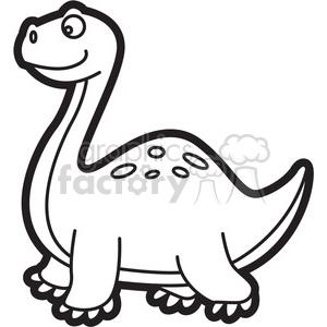 300x300 Royalty Free Brachiosaurus Dinosaur Cartoon In Black And White