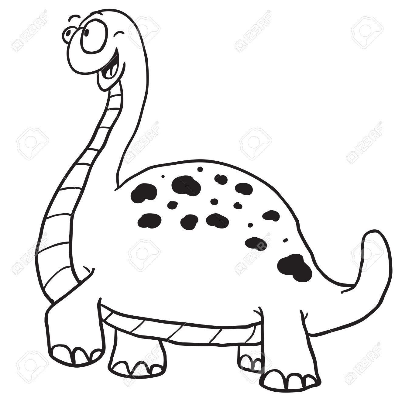 1300x1300 Simple Black And White Dinosaur Cartoon Royalty Free Cliparts