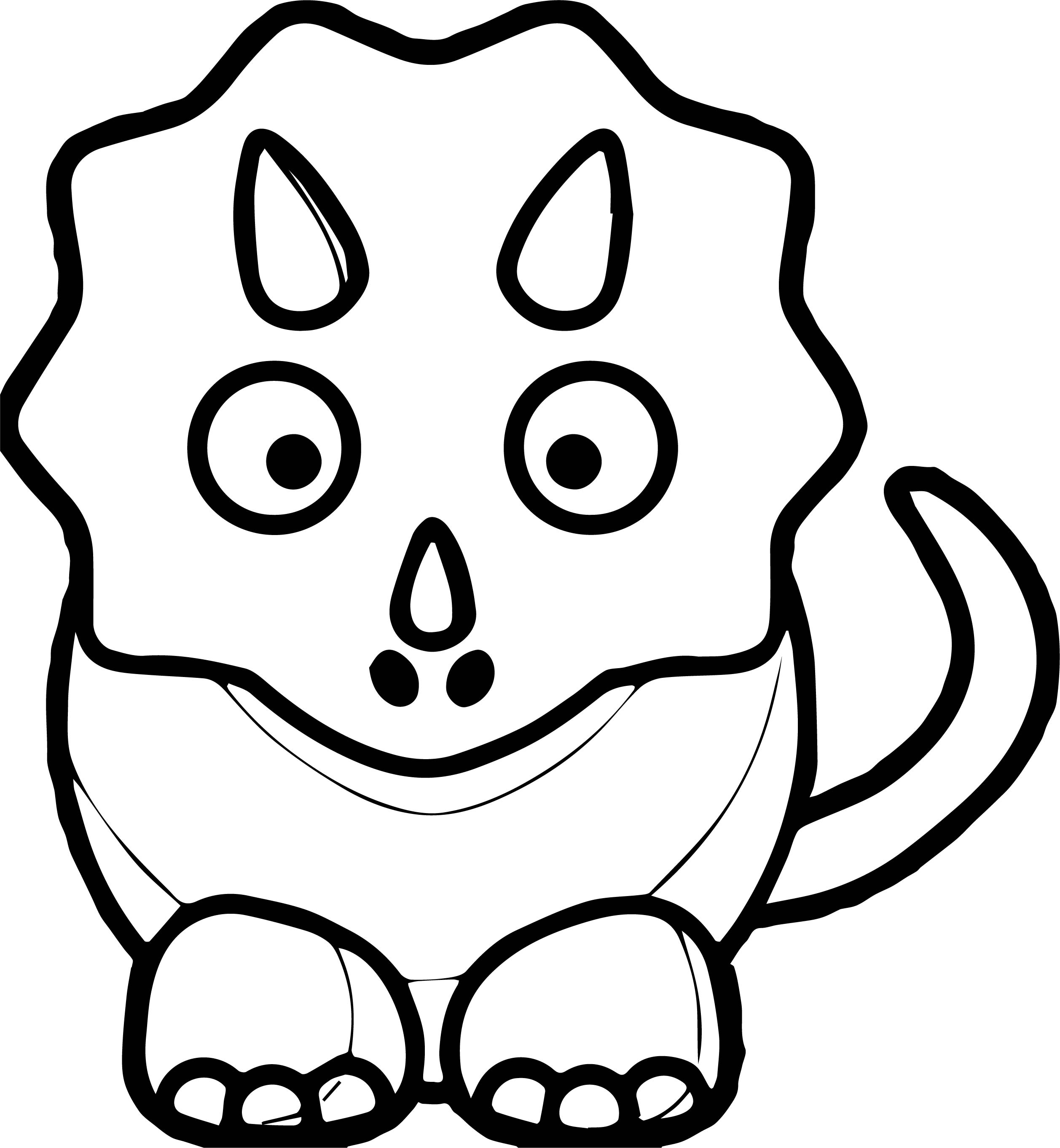 2515x2725 Cute Dinosaur Black And White Baby Blue Dinosaur Coloring Page
