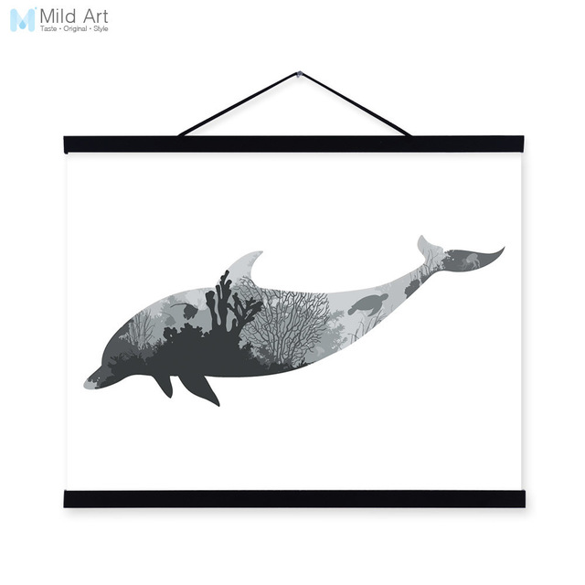 640x640 Dolphin Black White Nordic Minimalist Sea Animal Silhouette A4