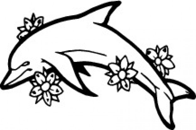 626x418 Dolphin Side With Flowers Vector Free Download