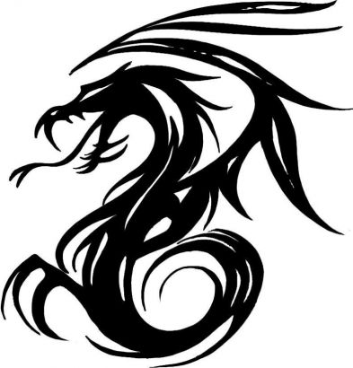 393x410 22 Tribal Dragon Tattoo Designs, Images And Pictures