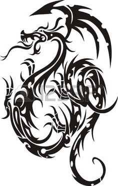 236x371 Tribal Tattoo Dragon Royalty Free Stock Photo