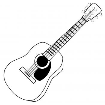 350x350 Guitar Clipart Black And White