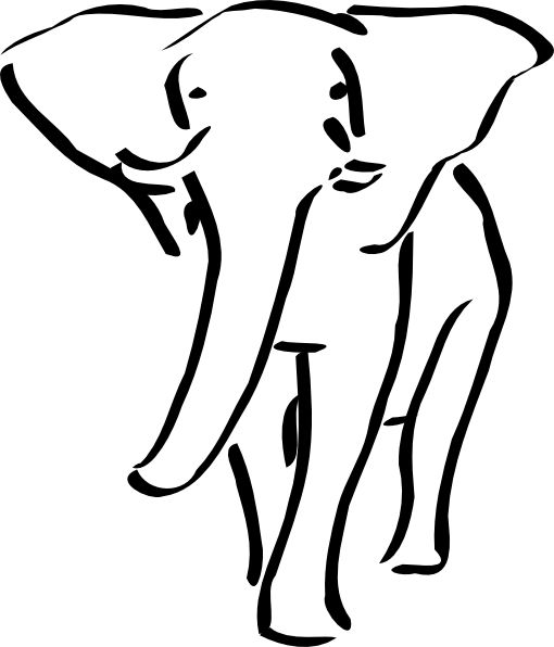 Black And White Elephant Clipart