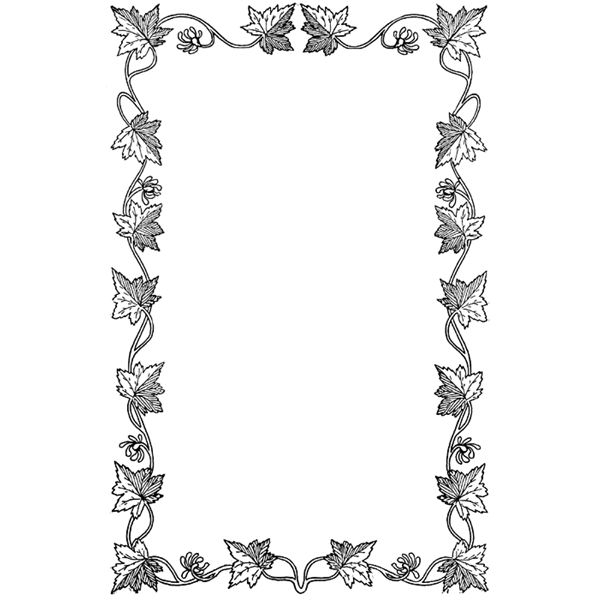 600x600 Fall Leaves Clipart Black And White Border