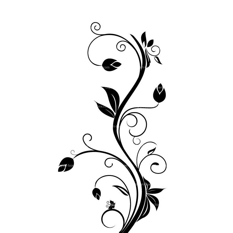800x800 Black Floral Clip Art