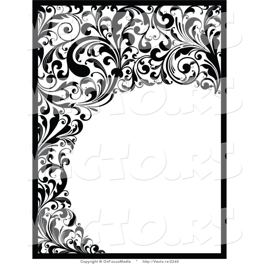 1024x1044 Flower Border Design Black And White
