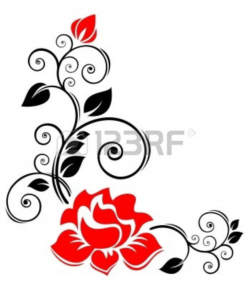 1053x1200 Flowers Border Design Black And White