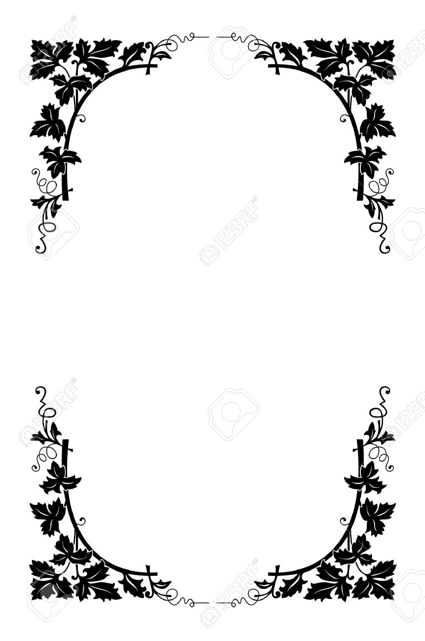 862x1300 Best Black And White Flower Border