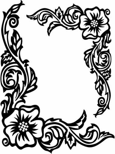 Black And White Flower Border Clipart
