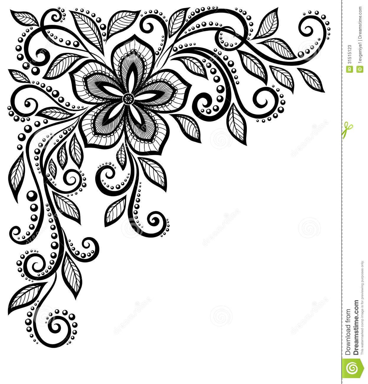 1247x1300 Black Lace Border Clipart