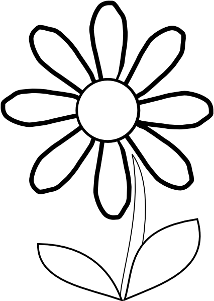 426x598 Black And White Clipart Flower