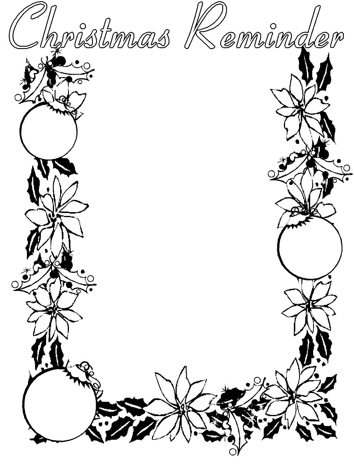 1212x1597 Christmas Borders Black And White Clipart