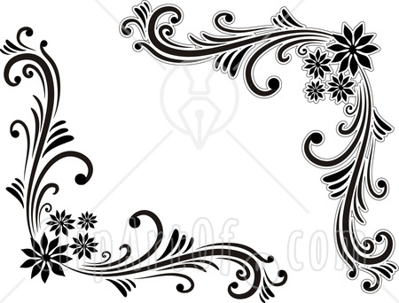 450x342 Black And White Flowers Borders Clipart