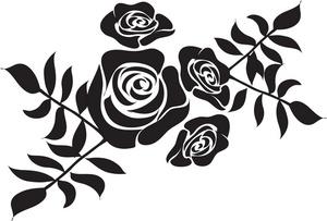 300x203 White Flower Clipart Stencil Art