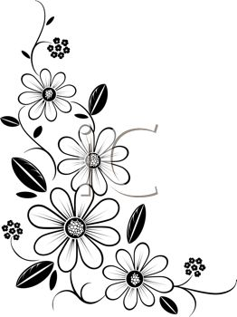 262x350 Free Black And White Floral Clip Art