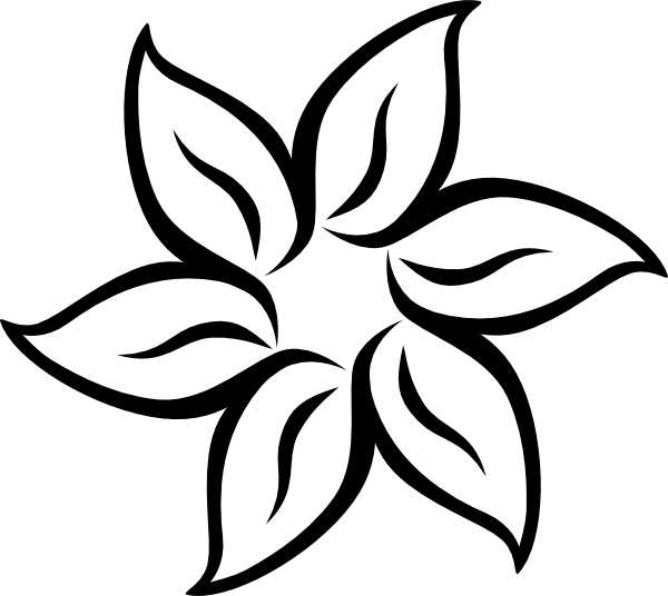 600x536 Free Black And White Flower Clip Art