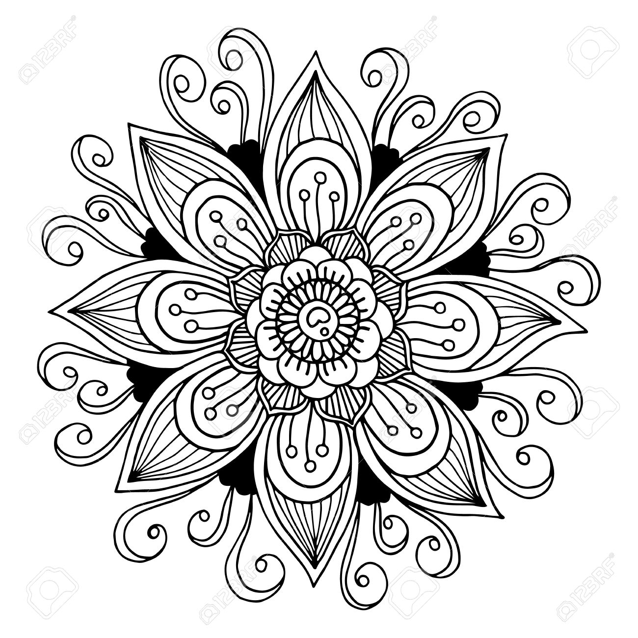 Black and white flower drawing free download best black and white 1300x1300 drawn floral black and white mightylinksfo