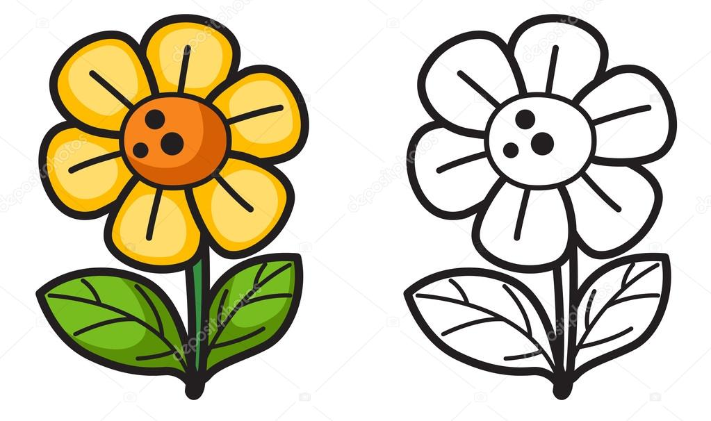 1023x606 Colorful And Black And White Flower For Coloring Book Stock