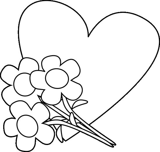 550x520 Flower Bouquet Clipart Black And White Clipart Panda