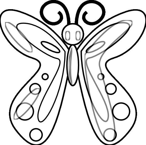 555x553 Clip Art Butterfly 14 Black White Flower