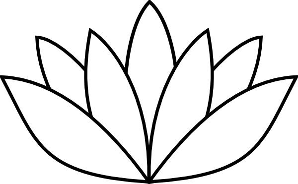 600x371 Black Amp White Clipart Lotus Flower