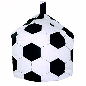 355x355 Children's Cotton Black Amp White Football Bean Bag With Filling