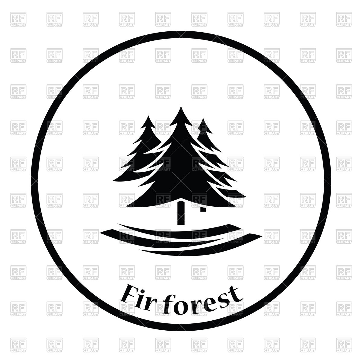 1200x1200 Thin circle design of fir forest icon Royalty Free Vector Clip Art