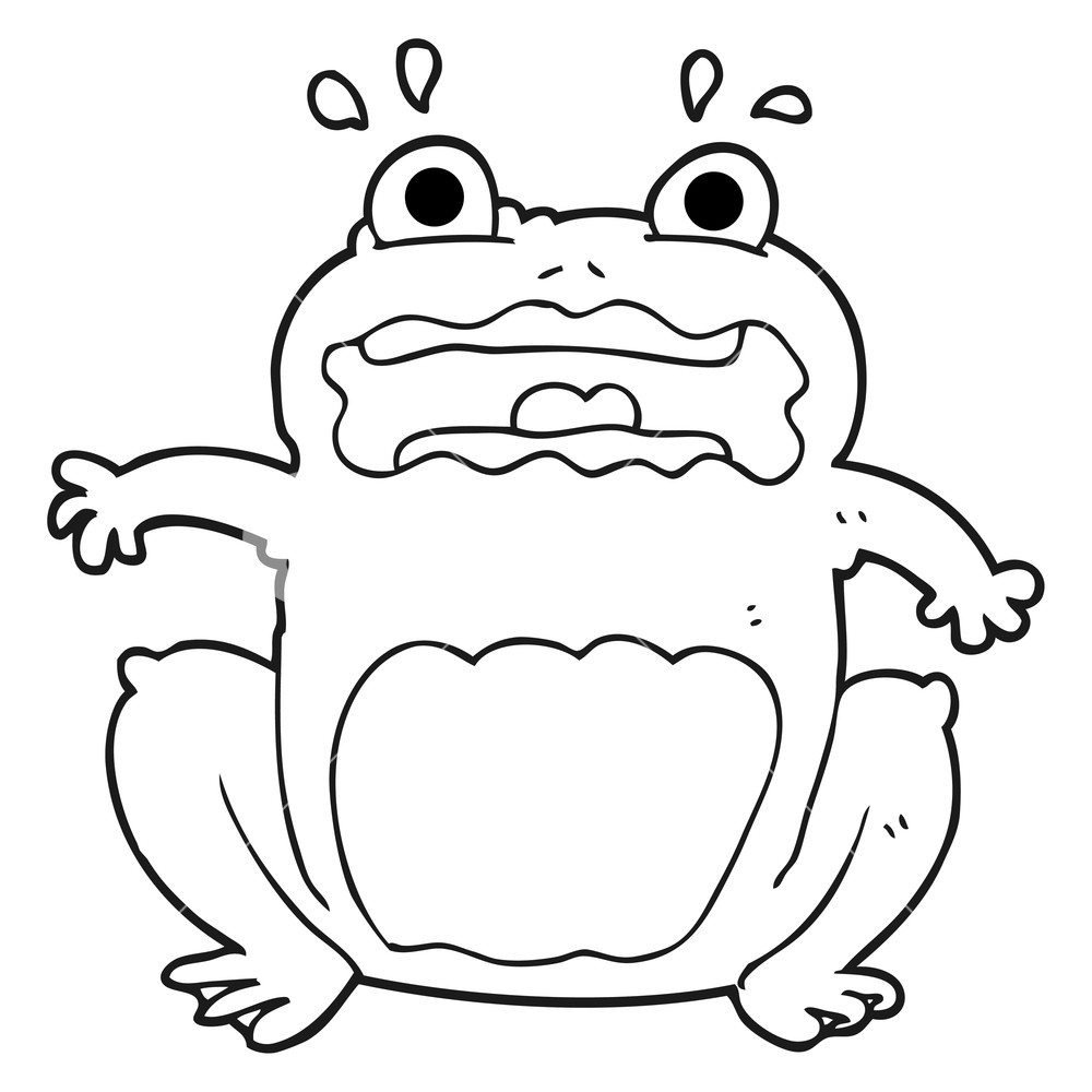 1000x1000 Freehand Drawn Black And White Cartoon Funny Frightened Frog