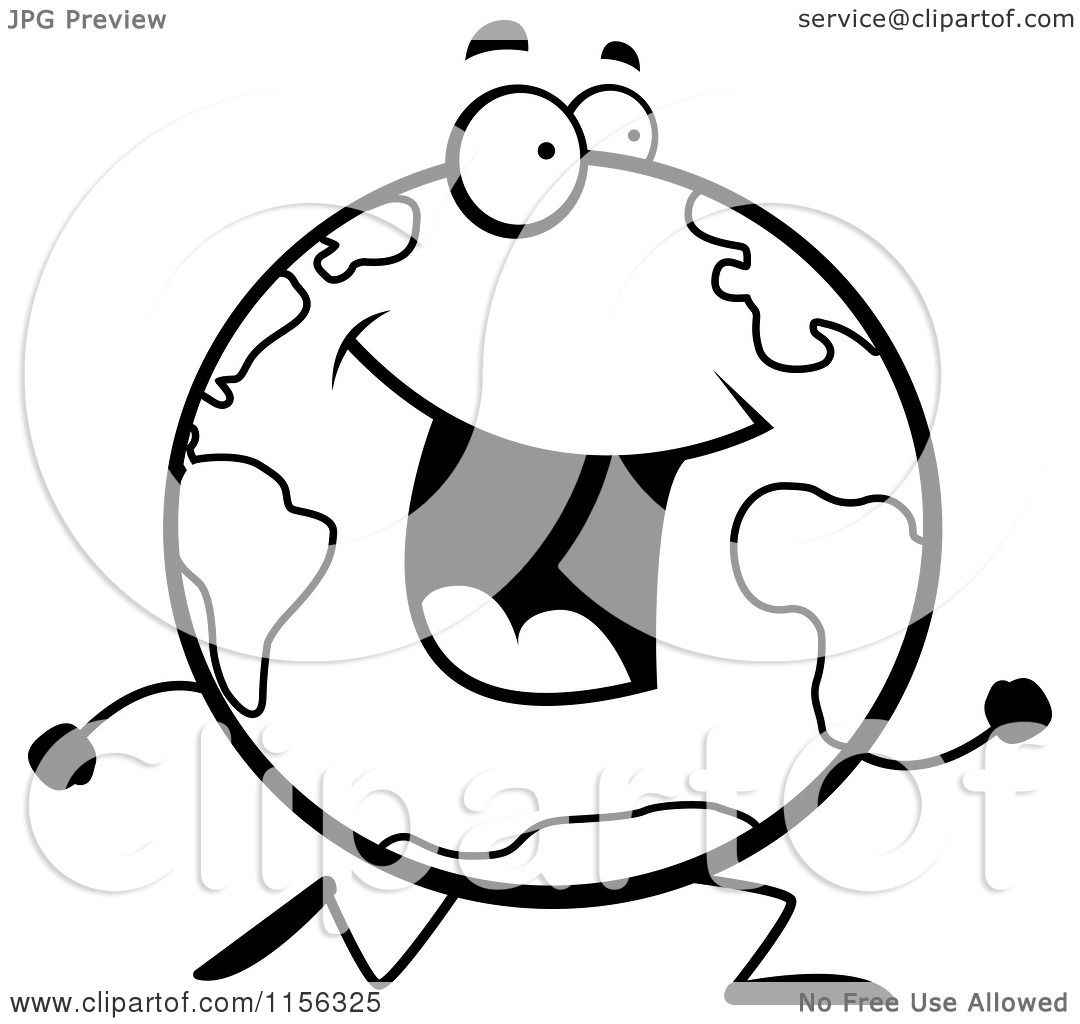1080x1024 Cartoon Clipart Of A Black And White Happy Globe Character Running